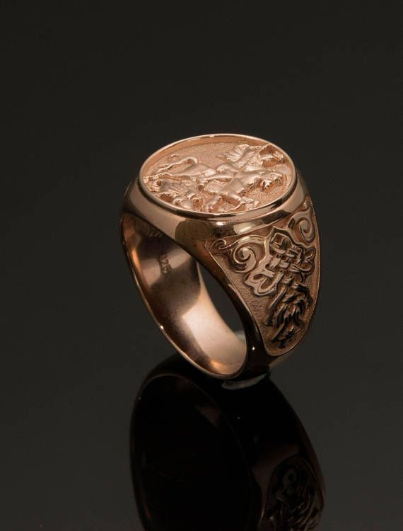 Gold Signet Ring, Sovereign Man Ring - Saint George on horse killing dragon (Good winning the bad in world) - Man Bravery Sovereign Ring ALL RING SIZES AVAILABLE! Created with fine goldsmith techniques by Danelian Jewelry Workshop!