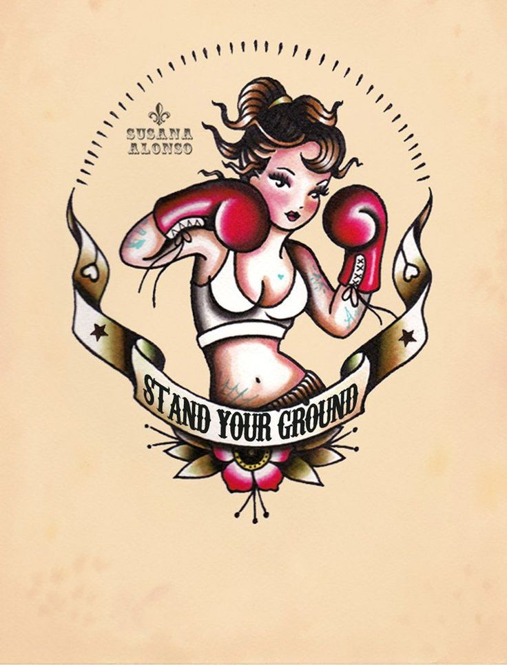 stand your ground by susana alonso boxer girl boxing tattoo canvas art print sexy traditional alternative design picture