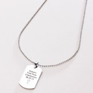Boys First Communion Necklace - Personalised Dog Tag - Popular Gift - Boys Commemorative First Communion Necklace -Religious Holy Communion ...