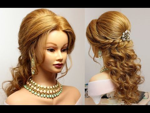Bridal hairstyle for long  medium hair tutorial - YouTube