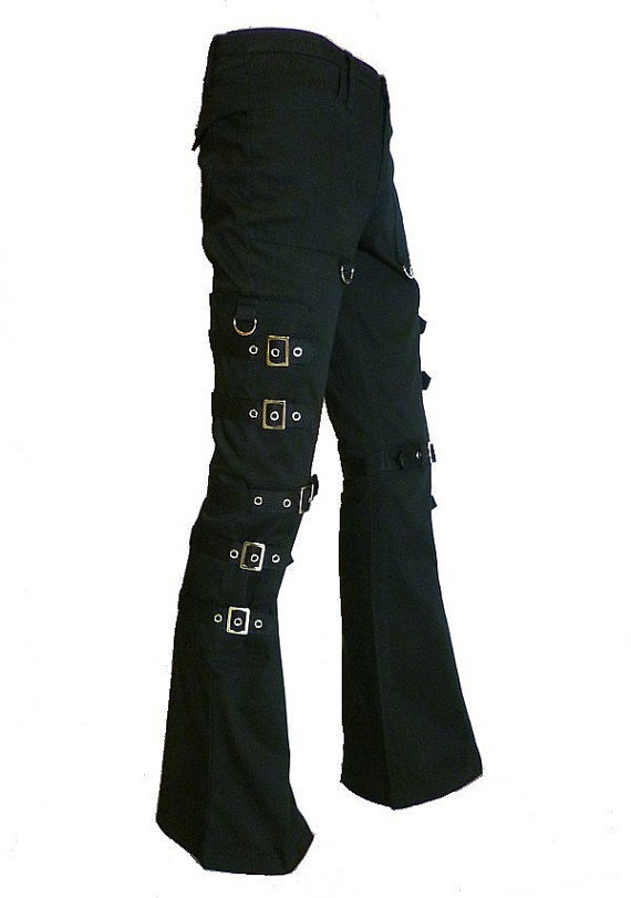 Black Gothic Punk Cargo Pants with Silver Buckles