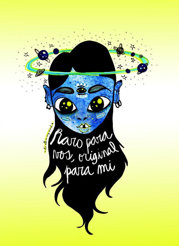 """Raro para vos, original para mi. Illustration work by Guadalupe Ferrante, via Behance """"Un pensamiento que hay que recordar cuando nos encontramos con gente que vive juzgando."""""""