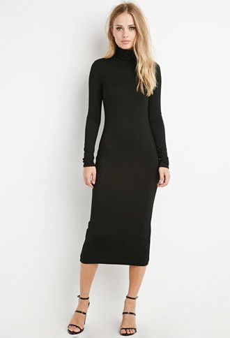 A midi-length turtleneck dress with long sleeves. Must be part of your wardrobe.