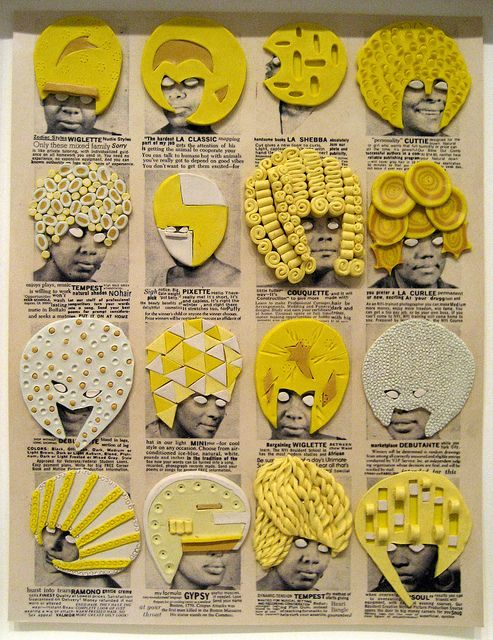 """Ellen Gallagher Gallagher took adverts from old African-American magazines such as Ebony and Our World and created 60 framed """"pages"""" that hang in a grid, the images having been cut and spliced together then overlayered with coconut oil, glitter and lurid yellow Plasticine. - Guardian"""