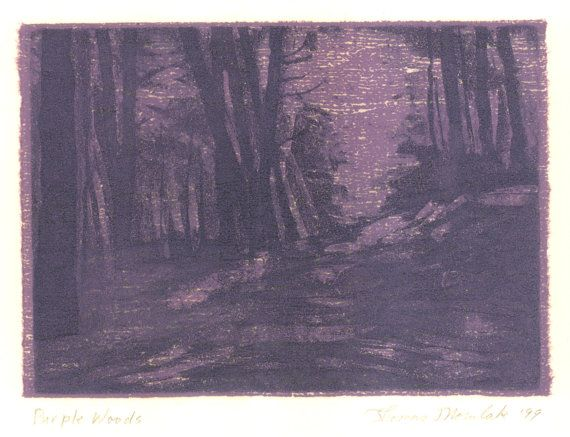 Purple Woods original aquatint etching with chine by printsnat, $9.99