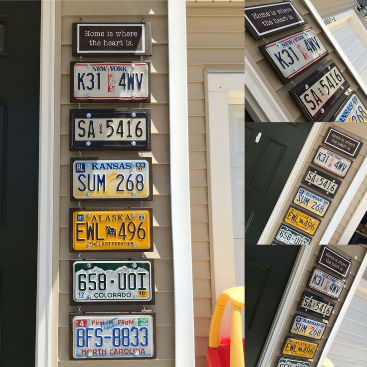 License Plate Art Wall Hanging. We have been an Army family for 23+ years and decided to display the license plates from all of our duty stations. We sanded and stained plywood, bolted the plates into the wood, and used O and s hooks to attach each plate to the other.