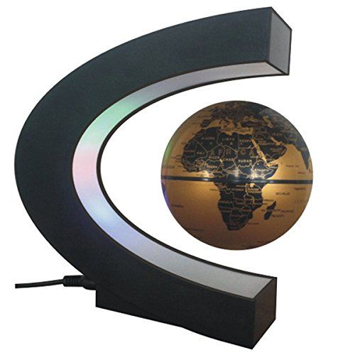 Buy CEStore C Shape Magnetic Levitation Floating World Map Globe Rotating Mysteriously Suspended in Air with LED Lights for Learning/Teaching Demo Home Office Desk Decoration Christmas Gift (Gold) - Topvintagestyle.com ✓ FREE DELIVERY possible on eligible purchases