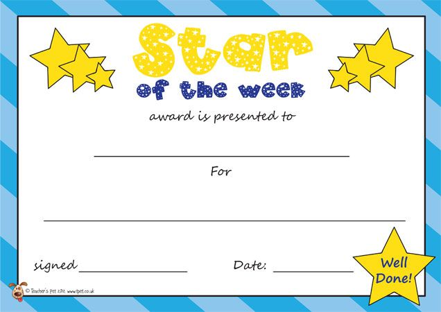 student of the week certificate template free - teacher 39 s pet star of the week certificate staton the