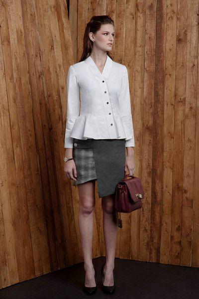 Two-tone Asymmetric Wool Blend Pencil Skirt