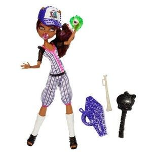 Here Clawdeen is in her baseball pinstriped  with mesh sleeves uniform