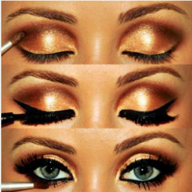 dramatic #eyemakeup using golds & browns