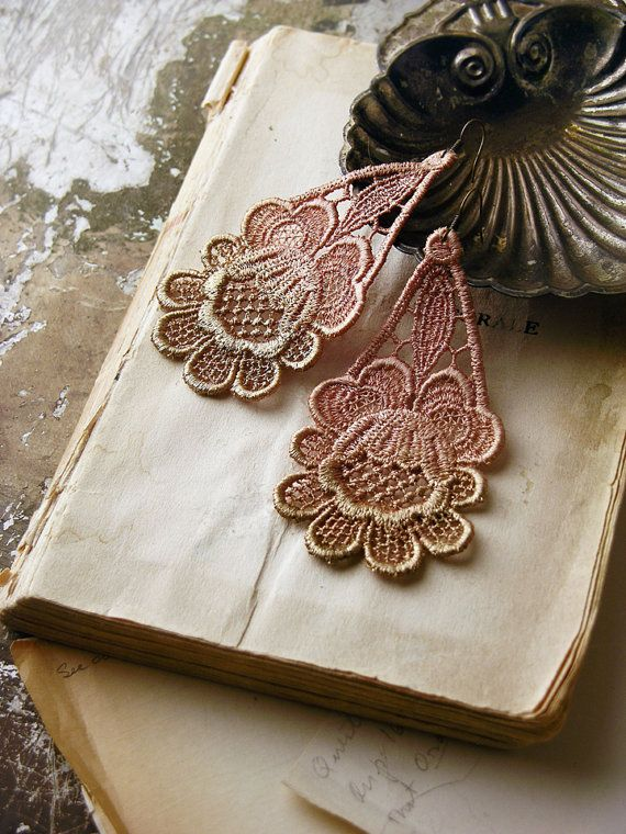 ombre bronze and peach earrings by White Owl