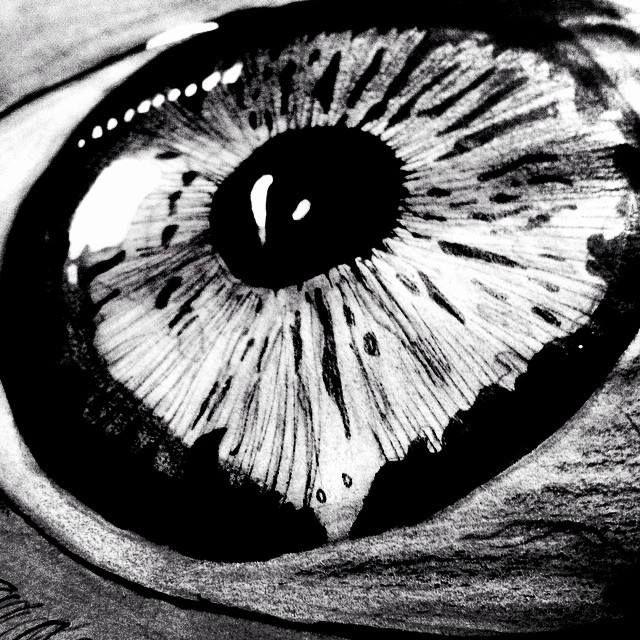 vista macro ojo tira linea, papel kraft