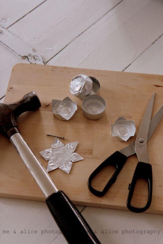 me and Alice: recykling diy for x-mas. Turn empty tea light holders into Christmas stars.