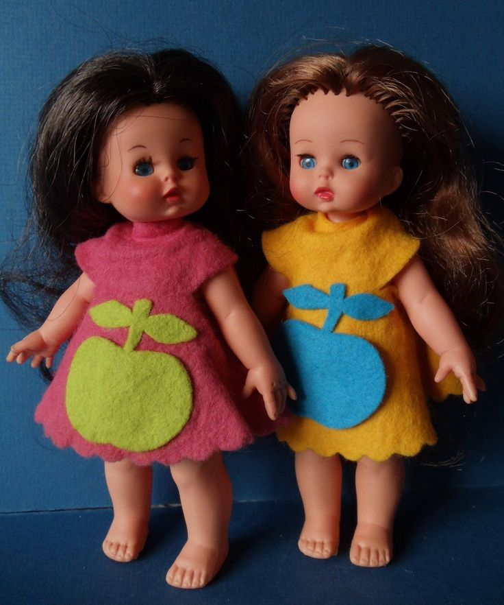 Vintage TWO Mini FURGA Dolls Brunette and Redhead - ITALY