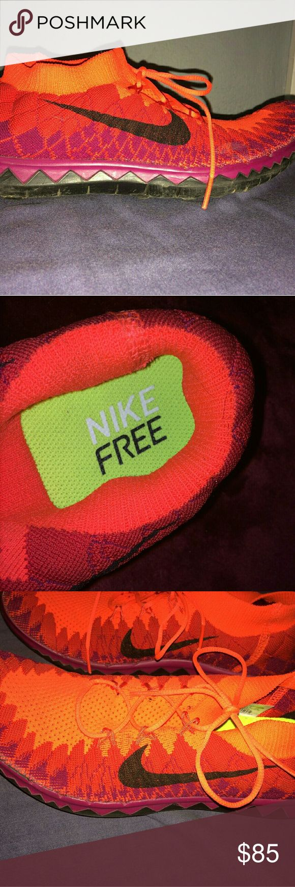 Nike Free 3.0 Flyknit Shoes Color: Crimson Purple  Size: 9 Gentle Used, worn no more than 5 times. Some wear & tear on the back heel. A little dirty underneath will wash before sending out. Price may be negotiable, send me an offer :) Nike Shoes Athletic Shoes