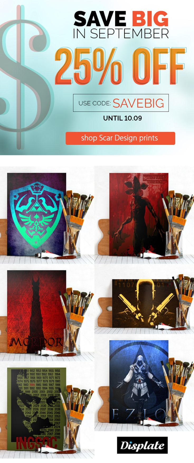 25% OFF Movie, TV  & Gaming Posters TODAY ONLY !! Use code: SAVEBIG #discount #sales #movieposters #gamingposters #save #gifts #hitmanposter #displate #assassinscreedposter #mordorposter #1984poster #zeldaposter #strangerthingsposter #gamer #gaming #homedecor