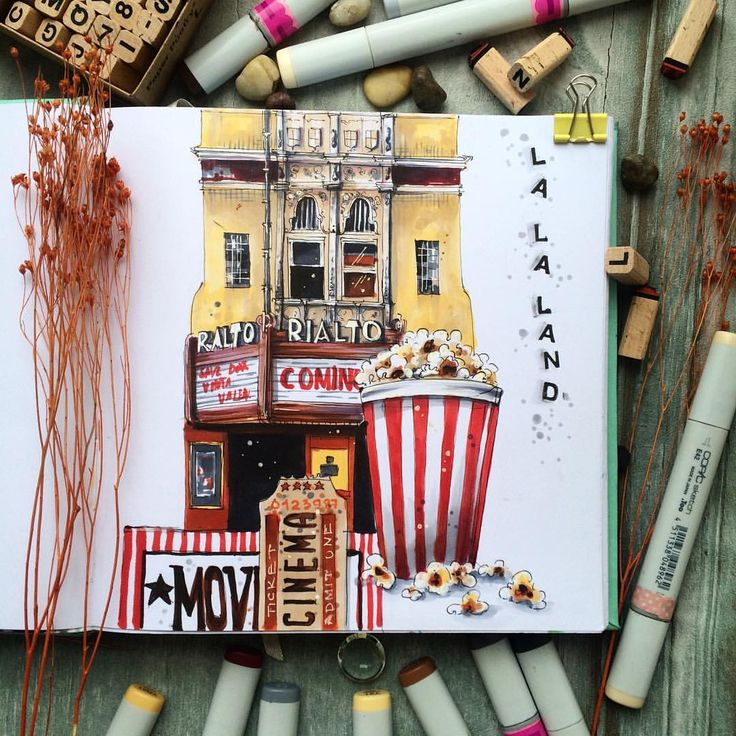 "298 Likes, 3 Comments - Shelmenko Irina Anatolievna (@irina.shelmenko) on Instagram: ""Задание  #лалакурс @copicmarker  для @kalachevaschool по #lalaland #cinema #architecture #кинотеатр…"""