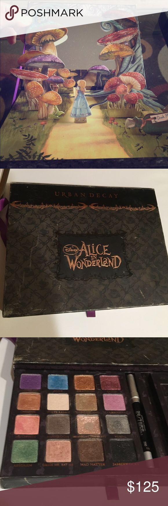 """RARE Alice in Wonderland Urban Decay palette 🎨 THIS ITEM IS NOT SOLD IN STORES. Story book pop-up mirror. RARE, unique highly pigmented colors. They blend beautifully like all urban decay products. I bought this on a flight over the U.K.-Ireland. I'm not sure if it was ever sold in the states. Lightly used, but aside from """"midnight tea party"""" they are like new. Shadows are sanitized. Will come with the original black liner and I will include the electric blue if I can find it. Urban Decay…"""