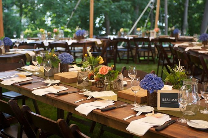 outdoor picnic table for weddings | Picnic style 90 th birthday party with wooden tables by AE Events ...