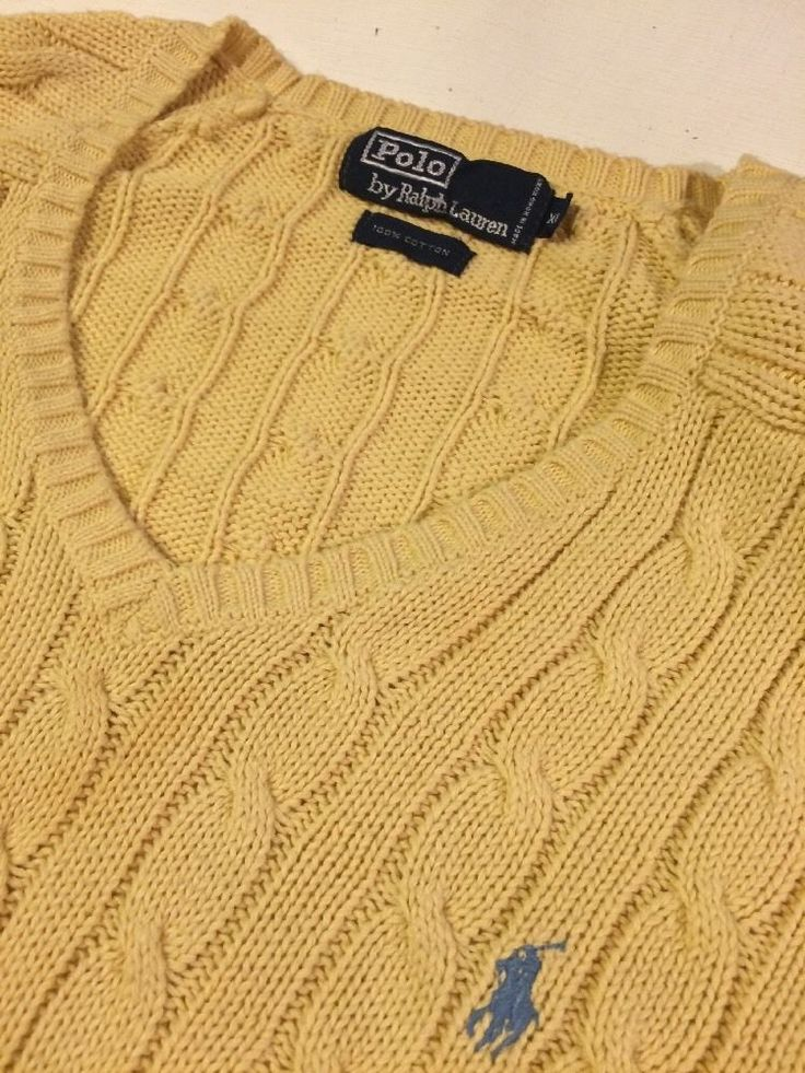 Polo Ralph Lauren Mens Cable Knit Sweater V-neck Pony Logo Yellow Extra Large XL #PoloRalphLauren #VNeck