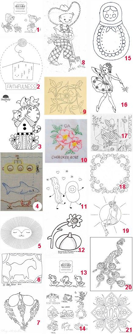 More free hand embroidery patterns.