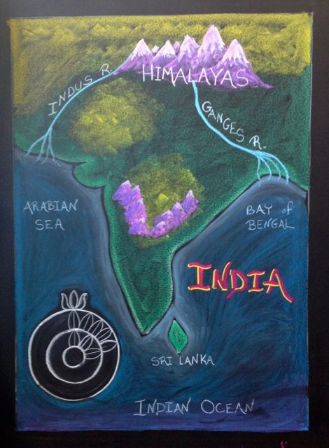 Waldorf ~ 5th grade ~ Ancient India ~ Map ~ chalkboard drawing ~ Information about the Geography of Ancient India here http://www.ancientindia.co.uk/geography/home_set.html