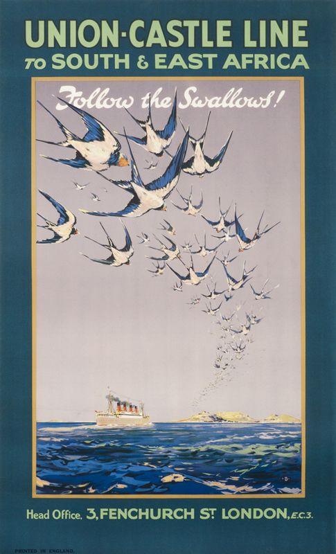 Union-Castle Line to South & East Africa - Follow the Swallows! by Artist Unknown | Shop original vintage #posters online: www.internationalposter.com