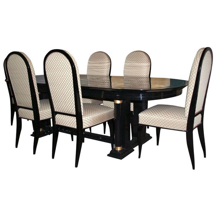 Fine Black lacquer Art Deco dining table By Dominique
