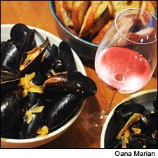 Mussels in saffron tomato broth. Benziger Rosé: http://www.benziger ...