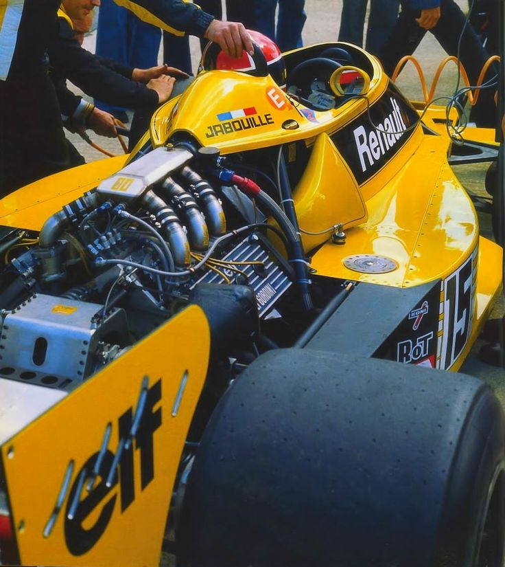 "The first Renault RS01 Turbo made its debut in the 1977 British GP. At this time It was slow and unreliable, always steaming.The paddock nicknamed it ""Yellow Tea Pot"""