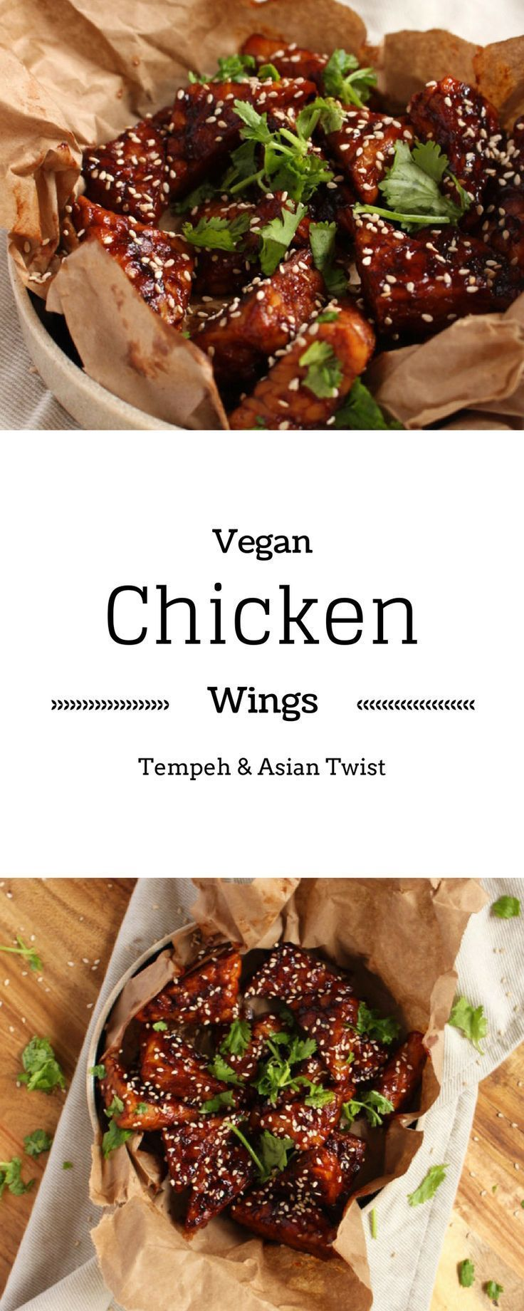 Vegan Chicken Wings - Don't feel left out this Super Bowl, I got you covered with this vegan recipe for chicken wings. All made with Tempeh and an awesome asian twist - http://BrokeFoodies.com