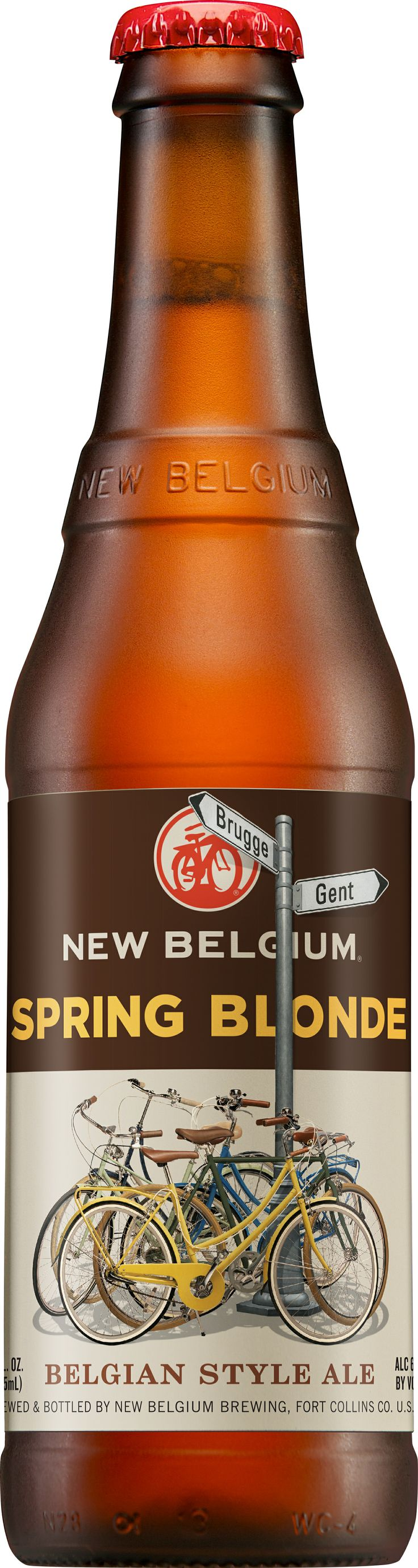 New Belgium Spring Blonde. Blondes are a favorite style among New Belgium employee-owners who have celebrated their 5-year anniversary with a spring trip to Belgium. These travels inspired our Spring Blonde and brought some old Belgium to New Belgium. Brewed with pale and Munich malts, this golden ale pours bright copper and holds a strong, white head aloft. A nose of lemon peel, pepper, and fresh baked bread entice a sipping