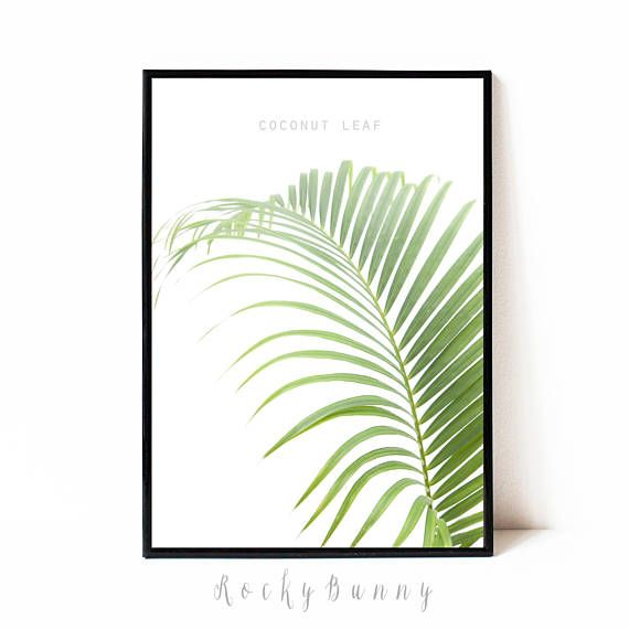 Palm leaf poster printable wall art tropical print instant