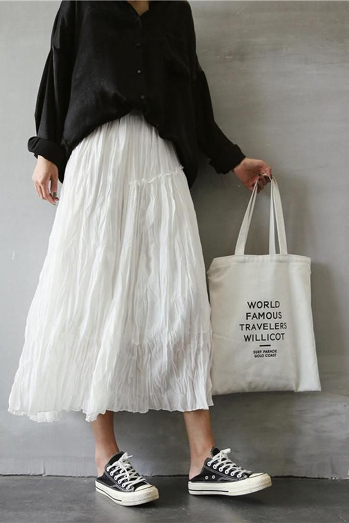 Spring and Summer Cotton Linen Long Skirt For Women Q369 15