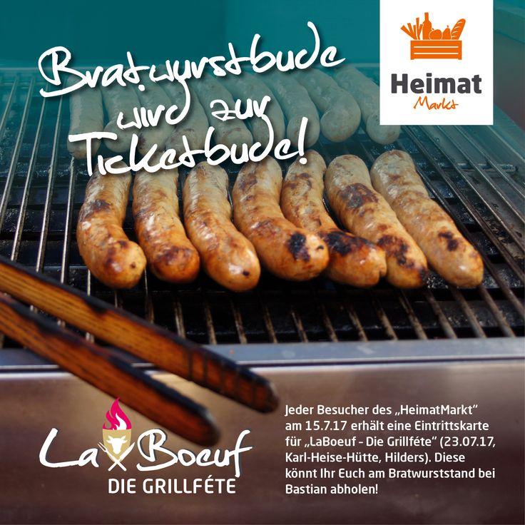 Achtung: Bratwurstbude wird zur Ticketbude! Jeder Besucher des morgigen HeimatMarkt erhällt eine Eintrittskarte für LaBoeuf – Die Grillféte. Diese könnt Ihr Euch am Bratwurststand bei Bastian zwischen 10-13 Uhr abholen! ;-)