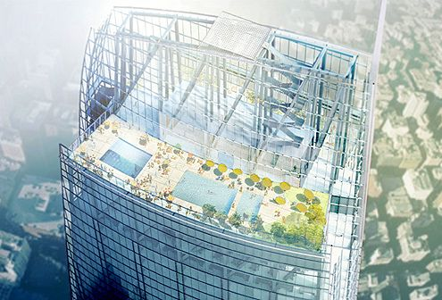 The rooftop pool and lounge area for hotel guests will have amazing views of the Los Angeles basin (Photo: AC Martin)