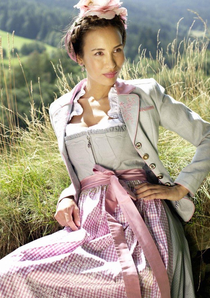 Sportalm Dirndl naturfarben mit rosa-weiß karierter Schürze