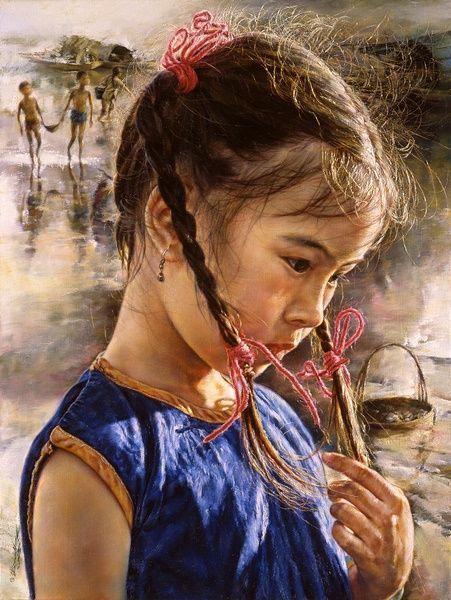 Artist: Wai Ming, 1938 {figurative pretty female girl painting} Innocent !!