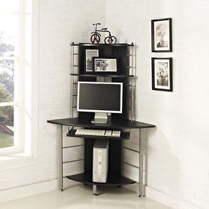 Home Office Corner Work Station Computer Desk Table PC Black Furniture NEW | eBay