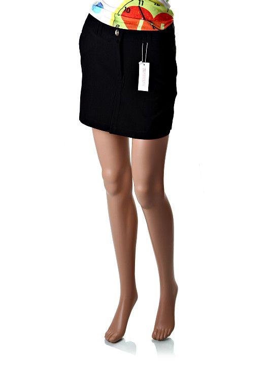 Úzka bedrová čierna minisukňa zľahka obopínajúca boky s bočnými vreckami a pútkami na opasok. Sukňa sa zapína na gombík a zips. Dĺžka sukne je do polovice stehien. http://www.yolo.sk/sukne/cierna-kratka-sukna-thanners