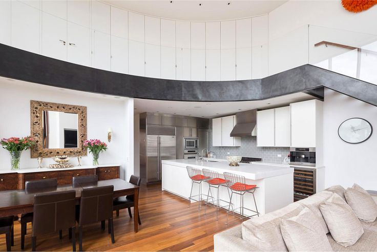 Outstanding Design Ideas from Manhattan Penthouse Apartments: Outstanding Manhattan Penthouse Apartments Kitchen With Huge White Kitchen Island With White Kitchen Cabinet Also Brown Elegant Dinner Set With Laminat Floor With Chrome Refirgerator Also Kitchen Stool ~ iamsaul.com Apartment Inspiration