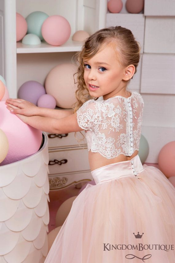 Ivory and Blush Pink Flower Girl Dress by Butterflydressua
