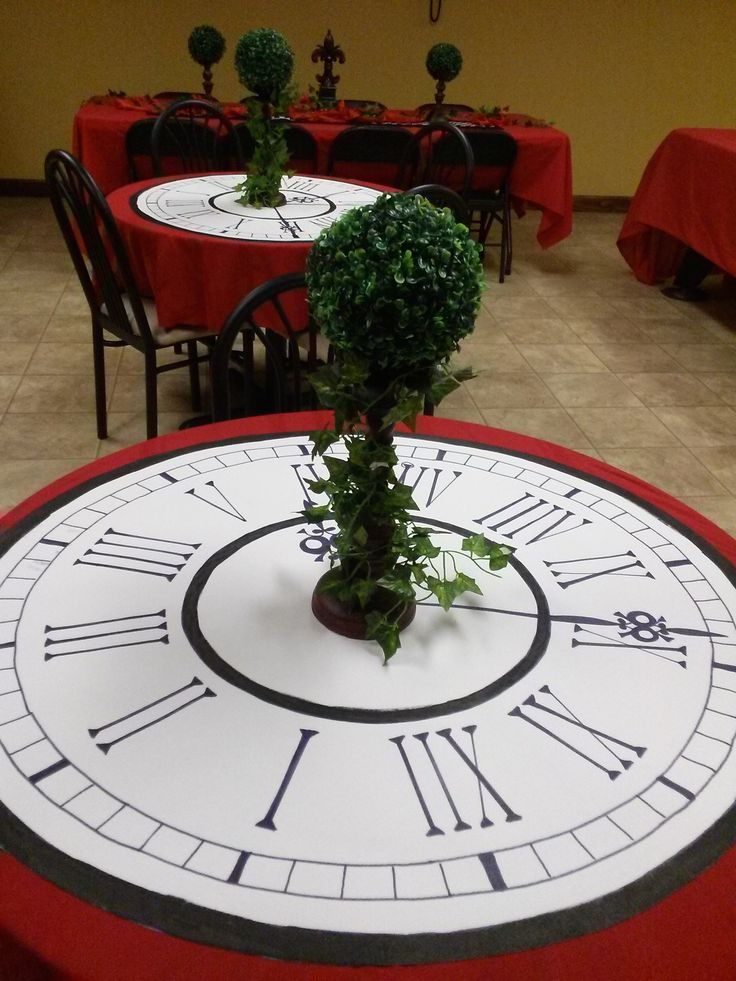 Vinyl Clock table covers for Italian/Parisian even New Year's or Alice In Wonderland / Mad Hatter themed luncheon/dinner made from wallpaper material - Time all is too short