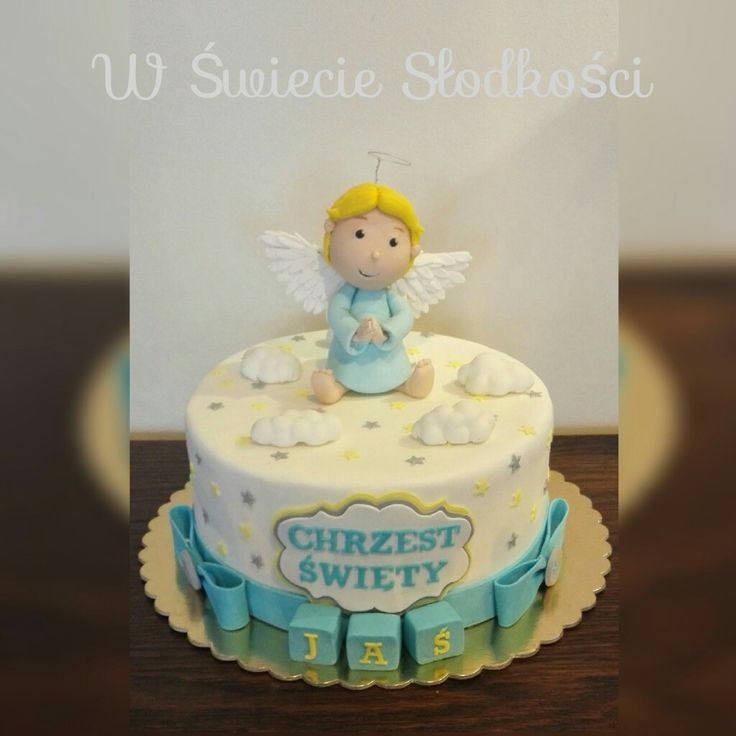 Christening cake with angel
