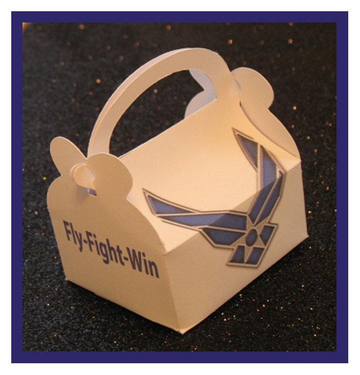 Air Force party favor boxes. $1.35, via Etsy.