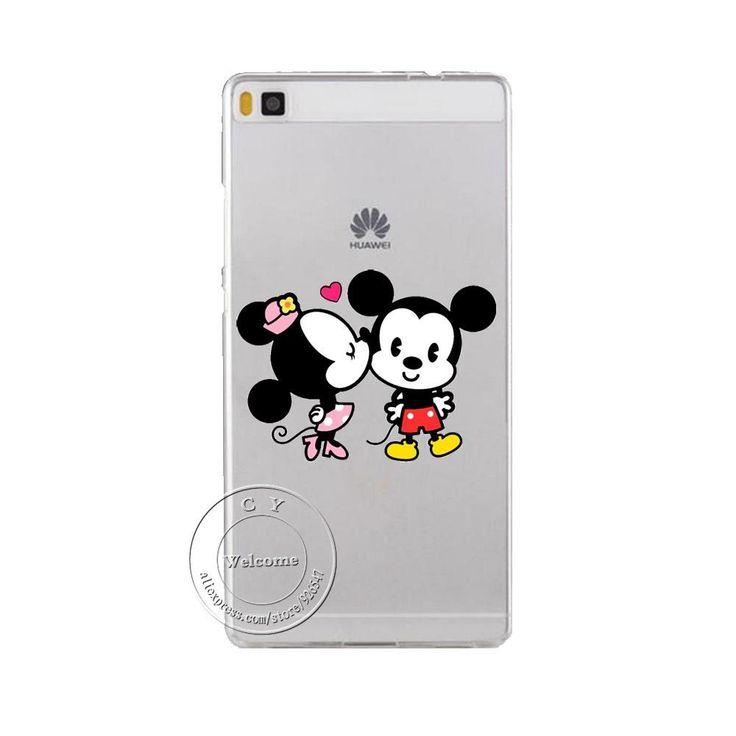 Super Cute Minions Cat Mickey & Minnie Kiss Hard Plastic Case Cover For Huawei Ascend P6 P7 P8 P8 Lite Mini P9 P9 Lite