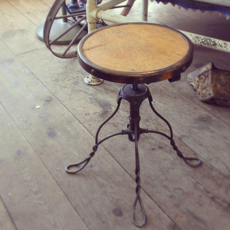 Antique Adjustable Stool ~ #antique #stool #wood #decor *JoJo's Place www.jojosplace.com