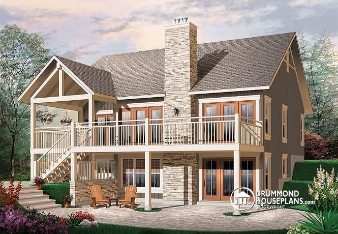 COZY CHALET WITH AMAZING TERRACE   Craftsman Cottage house plan, rustic, cathedral ceilings, fireplace, large deck, unfinished walkout basement (# 3941)   http://www.drummondhouseplans.com/house-plan-detail/info/bay-breeze-3-cottages-chalets-1002381.html