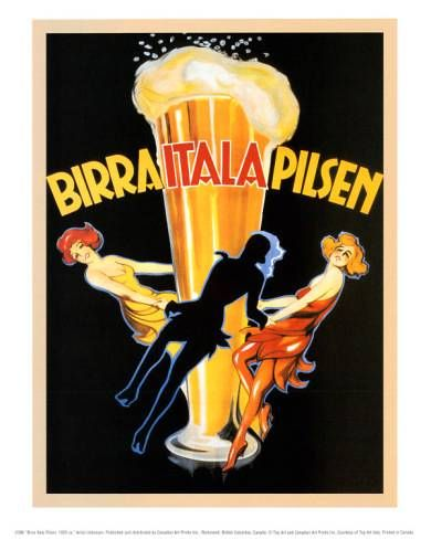 Birra Italia Pilsen | Vintage food & drink poster | Retro advert #Vintage #Retro #Posters #Affiches #Food #Drinks #Carteles #deFharo #Ads